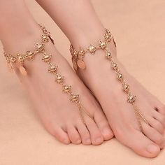 Women's Beach Barefoot Sandal Coin Tassel Anklet Chain Multilayer Coin Anklet Foot Jewelry - R alf - Cute Jewelry, Jewelry Sets, Women Jewelry, Ankle Jewelry, Barefoot Sandals Wedding, Barefoot Beach, Anklet Designs, Ring Designs, Anklet Tattoos