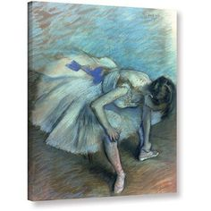Edgar Degas Seated Dancer Gallery-wrapped Canvas Art, Size: 36 x 48, Blue