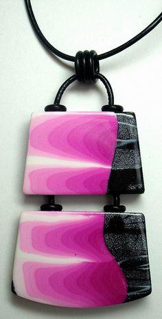 Polymer Clay Pink/Black Pendant, via Flickr.