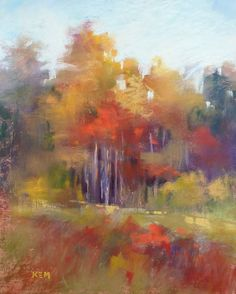 Fall Color in the Trees 8x10 Original Pastel by Karen Margulis