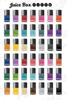 Set of 42 Mini Nail Polish Bottle Stickers in by JuiceBoxPaperCo