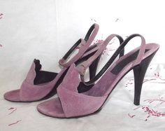 Vintage 70s LAVENDER Suede Leather ArtDeco High by IntrigueU4Ever, $45.00