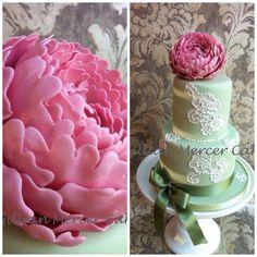 Large peony flower and brush embroidery cake - by Gillian mercer cakes @ CakesDecor.com - cake decorating website