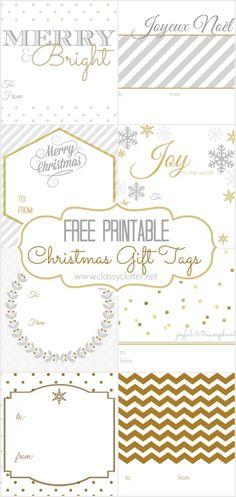 FREE Christmas Gift Tags - 8 printable designs - c Free Printable Christmas Gift Tags, Free Christmas Gifts, Christmas Labels, Noel Christmas, Christmas Gift Wrapping, Holiday Fun, Printable Tags, Xmas, Printable Designs