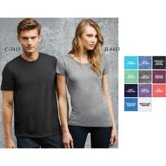 """Bella + Canvas (R) Women's Triblend Short Sleeve Tee. From The Triblend Collection. Made of 50% polyester/25% combed and ring-spun cotton/25% rayon (40 single, 5.7 oz.). Features side seaming and a retail fit. """"Products ship within Canada Only""""."""