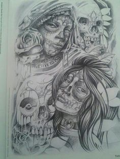 I save arte that I can learn from. I draw. I sketch. I soak it up because I hunger to make my skills better. Art Chicano, Chicano Drawings, Demon Tattoo, Medusa Tattoo, Day Of Dead Tattoo, Sugar Skull Art, Sugar Skulls, Azteca Tattoo, Gangster Tattoos