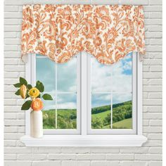 Refresh your window space with the light and airy Boxtree Scallop Window Valance. Decorated in a charming damask pattern, this window accessory features a scalloped trim while adding a pop of color to complement your décor. Scarf Valance, Window Accessories, Valance Window Treatments, Drapes Curtains, Grommet Curtains, Damask, Color Pop, Windows, Orange