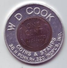 1958 D W D Cook Coins & Stamps encased penny cent coin - Indianapolis Indiana