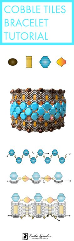 Peyote beaded bracelet / bangle with 2-hole Honeycomb beads from Beadsmith, Half Tila Miyuki Japanese seed beads, Czech fire polished beads, Swarovski Elements bicone beads. Design by Erika Sandor The Storytelling Jeweller.