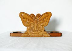 Vintage 70s Wood Carved Butterfly Napkin Salt Pepper Shakers Holder Dispenser by PaddywhackKnickKnack on Etsy