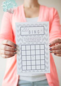 For a little entertainment, try playing bridal bingo. Each guest fills out every box with a gift that she thinks the bride will receive come present time.