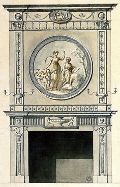 Design for chimney-piece in the Beauclere Room at Horace Walpole's house, Strawberry Hill, Middlesex, by Robert Adam, 1767