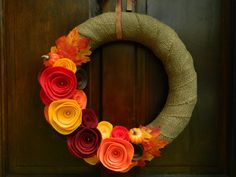Fall Pumpkin Wreath - Burlap and Felt Flower Wreath with Leaves and Mini Pumpkins by WreathinkGifting on Etsy https://www.etsy.com/listing/162178584/fall-pumpkin-wreath-burlap-and-felt
