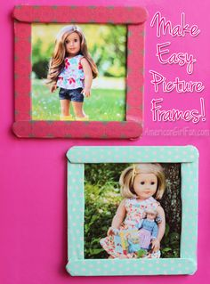 How To Make Easy Picture Frames For American Girl Dolls! (click through for tutorial)