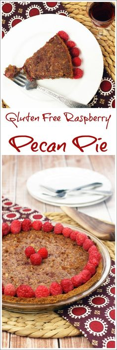 Need a gluten free dessert recipe? Try this Gluten Free Raspberry Pecan Pie. It's the perfect dessert for Thanksgiving, Christmas or holiday entertaining. Get the easy recipe including a homemade gluten free cookie pie crust recipe at This Mama Cooks! On a Diet #sponsored #raspberrydessert @driscollsberry