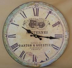 Shabby Rustic Vintage Chic Wooden French Wall Clock Blue/Green Barton Guestier on eBay!