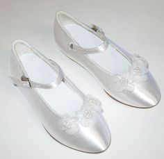 Flower Girl Shoes with Organza Flowers - First Communion Shoes $48.95