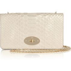 Mulberry Bayswater snake-effect leather clutch ($780) via Polyvore
