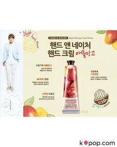 K2POP - EXO-K BAEKHYUN HAND & NATURE APPLE MANGO HAND CREAM (2PCS) + BAEKHYUN STANDEE (1PC) Exo Merch, Nature Republic, Hand Cream, Cosmetics, Baekhyun, Grapefruit, Mango, Apple, Manga