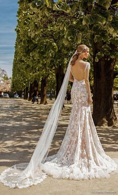 victoria soprano 2019 bridal cap sleeves v neck full embellishment elegant modified a  line wedding dress open back medium train (13) bv -- Victoria Soprano 2019 Wedding Dresses | Wedding Inspirasi #wedding #weddings #bridal #weddingdress #bride ~