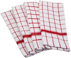 Amazon.com - DII 100% Cotton, Deluxe Windowpane Terry Towel Set of 4, Red - Dish Cloths #AmazonCart #DII #DesignImports