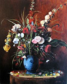 Munkácsy Mihály - Nagy Virágcsendélet Victor Vasarely, Social Art, Black Wallpaper, Faux Flowers, Still Life, Drawings, Paintings, Interiors, Artists