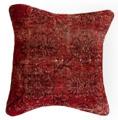 $89.99 Overdyed Scarlet Red Pillow: Throw on an extra layer of stylish comfort to your bed or sofa with this overdyed red pillow. Hand-knotted in Turkey from vintage overdyed rugs, this wool pillow is truly a one-of-a-kind.