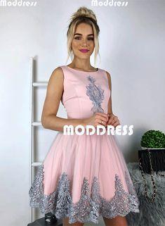 Pink Short Homecoming Dresses Applique Short Prom Dresses Knee Length Scoop Formal Dresses,HS810 #homecomingdress#fashion#promdress#eveningdress#promgowns#cocktaildress