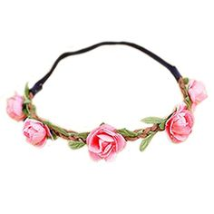 Hippie Love PINK Flower Garland Crown Festival Wedding Hair Wreath BOHO Floral Headband ** Read more  at the image link.Note:It is affiliate link to Amazon.