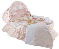 Baby Pink Egyptian Cotton Bedding with Moses Basket by Baby Gifts N Treasures.com