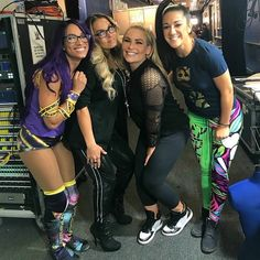 Sasha, Trish, Natalya, and Bayley Wwe Backstage, Tamina Snuka, Wwe Sasha Banks, Wwe Women's Division, Trish Stratus, Wwe Female Wrestlers, Shawn Michaels, Wwe Girls, 54 Kg