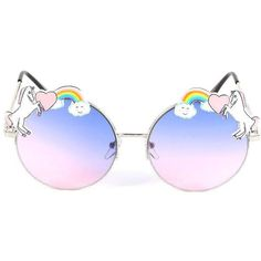 UNICORN FANTASY SUNGLASSES ($6.99) ❤ liked on Polyvore featuring accessories, eyewear, sunglasses, circle lens sunglasses, metal frame sunglasses, heart shaped glasses, rainbow glasses and heart glasses
