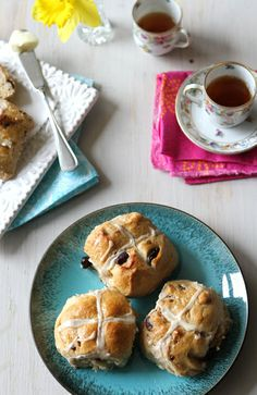 Hot Cross Buns with Dried Cherries & Dark Chocolate by CookinCanuck   Breakfast on Good Friday