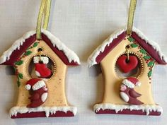 Christmas bird house cookies by Olvik Christmas Clay, Christmas Cupcakes, Christmas Goodies, Christmas Treats, Fancy Cookies, Xmas Cookies, Iced Cookies, Cookies Et Biscuits, Cupcake Pictures