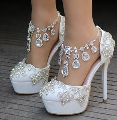Crystal Queen New Fashion Rhinestone Sandals Pumps Shoes Women Sweet Luxury Platform Wedges Shoes Wedding heels High Heels - Lady Shop - Store for the woman Wedding High Heels, Wedge Wedding Shoes, Bridal Shoes, Platform Wedding Shoes, Wedding Wedges, Sandals Wedding, Platform Wedges Shoes, Wedge Shoes, Platform Pumps