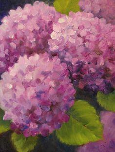 Nel's Everyday Painting: Magenta Hydrangeas - SOLD