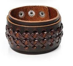 Pulseira Masculina-Bracelete Masculino-de Couro-Marrom-Mango-Dali-Acessórios