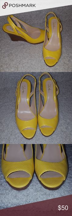 Beautiful yellow leather and wood Cole Haan wedges These stunning wedges are a fabulous shade of yellow and would a perfect addition to any summer wardrobe! These have only been worn twice.... I bought the wrong size. My loss is your gain!!! Cole Haan Shoes Wedges