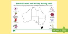An activity for your students to match the floral emblems to the correct Australian state or territory. Handwriting Activities, Different Symbols, Handwriting Styles, Anzac Day, Australia Map, Sorting Activities, Australian Curriculum, Australian Animals