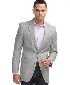 Calvin Klein Light Gray Plaid Extreme Slim Fit Sport Coat | Things ...