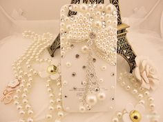 Pearl IPhone 4 Case With Beautiful Pearl Bow Charm Crystal Iphone 4 Case, Bling Iphone Case For Girl on Luulla