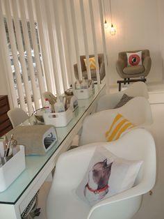 Home nail salon, nail salon decor, beauty salon decor, nail salon chairs, b Home Nail Salon, Nail Salon Design, Nail Salon Decor, Hair Salon Interior, Beauty Salon Decor, Salon Interior Design, Beauty Salon Design, Nail Spa, Nail Saloon