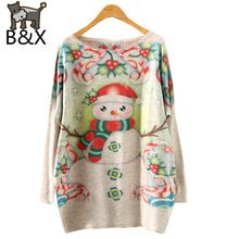 Women Pullover Floral Print Knitted Sweater Coat Christmas Snowman Pattern Long Bat Sleeve O-neck F902 Autumn Winter Gift(China (Mainland))