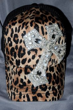 Women s Leopard Bling Trucker Hat. Baseball Hat. Rhinestone Cross appliqué.  Hat. Leopard. Cross. Snap back. fb027905230