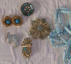 turquoise jewelry lot  . lot of 6 . rhinestone destash .  Jewelry Destash . turquoise destash by vintagous on Etsy