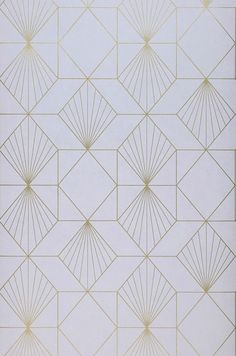 £40.31 Price per roll (per m2 £7.61), Geometric wallpaper, Carrier material: Non-woven wallpaper, Surface: Smooth, Look: Shimmering pattern, Matt base surface, Design: Graphic elements, Basic colour: White grey, Pattern colour: Gold, Characteristics: Good lightfastness, Low flammability, Strippable, Paste the wall, Wash-resistant