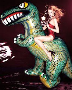 lara stone fashion editorial Fashion Editorial: Lara Stone and The Wild Animals