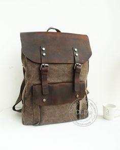 Canvas Backpack, backpack, Leather Canvas Bag, messenger bag, student backpack, laptop backpack on Etsy, $55.72 CAD