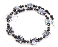 Zebra Necklace Beaded by AprilGetsCrafty on Etsy, $22.00