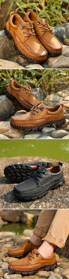 US$60.15 Men Genuine Leather Square Toe Lace Up Outdoor Walking Shoes